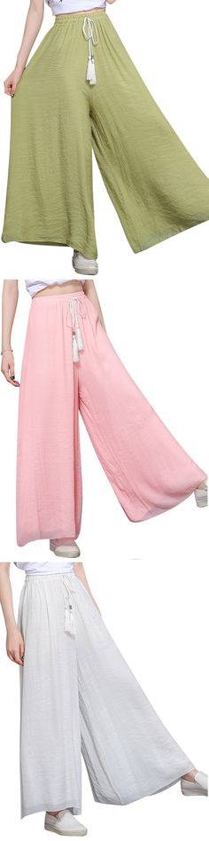 US$18.82 O-NEWE Loose Women Solid Elastic Waist Drawstring Wide Leg Pants
