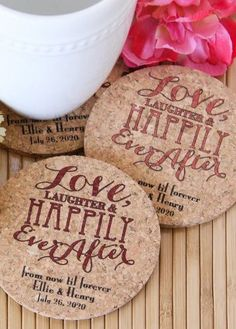 Send your guests home with 100% all natural cork coasters, personalized with your choice of design and message.