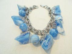 Vintage Lucite Charm Bracelet Blue Marble Nuggets Silver Tone Filigree POP ART!! #Unbranded #CharmStatement