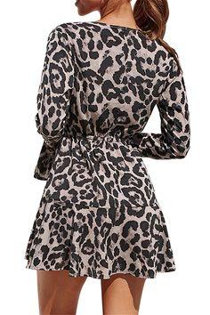 V Neck Long Sleeve Leopard Mini Chiffon Dress Gray Bridesmaid Jewelry Sets, Club Dresses, Gray Dress, Chiffon Dress, Sexy Women, Dresses With Sleeves, V Neck, Grey, Mini