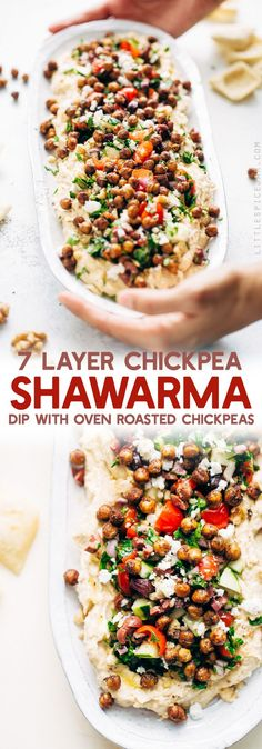 Seven Layer Chickpea Shawarma Dip - Smooth hummus topped with a parsley salad, salty feta, crunchy roasted chickpeas, and so much more. **Sub vegan feta