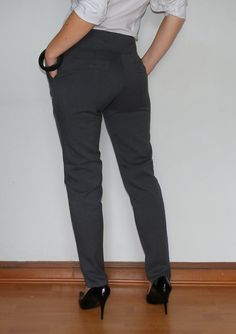 Wool Pants High Waisted Pants in Dark Gray for Women Office Fashion