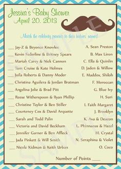 Mustache Baby Shower Games Printable by Moments2Celebrate on Etsy