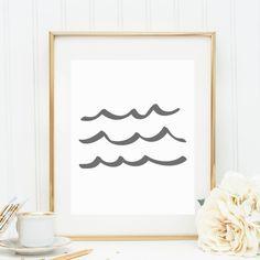 Wave Print Gray Gray Wave Wall Art Printable by JettyPrintables