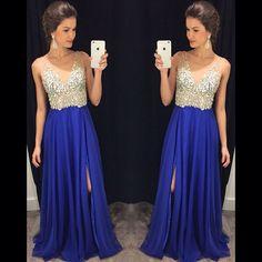 Charming Prom Dress,A-Line Prom Dress,Chiffon Prom Dress,V-Neck Prom Dress,Beading Evening Dress