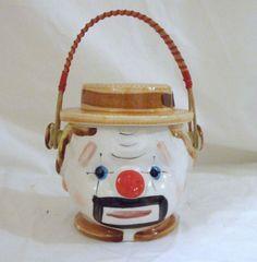 Vintage CLOWN Hand Painted Handled Biscuit Cookie Jar