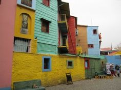 La Boca buildings painted with paint from boats