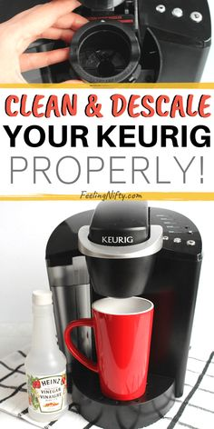 How to Descale and Clean your Keurig coffee maker - 2 Easy Ways {with vinegar and with descale solution). Step by step cleaning instructions are suitable for Keurig ( with filter) and older models Cleaning Keurig With Vinegar, Keurig Cleaning, Toilet Cleaning, Clean Kuerig With Vinegar, Cleaning A Kurig, Vinegar Cleaning Solution, Bathroom Cleaning Hacks, Kitchen Cleaning, Deep Cleaning Tips