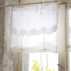 white linen and lace window blind