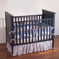 Blue painted crib