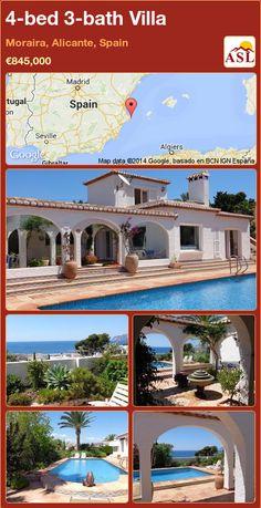 4-bed 3-bath Villa in Moraira, Alicante, Spain ►€845,000 #PropertyForSaleInSpain