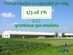U.S. animal greenhouse gas emissions are 2.5%. Pork production contributes only 1/3 of 1% of that total. Pork farmers work hard to ensure our natural resources are preserved for generations to come.