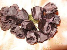 Vintage Millinery Flower Roses 1940's Chocolate Brown VELVET Satin