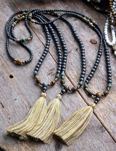 Three hematite gemstone mala necklaces.  www.etsy.com/shop/look4treasures