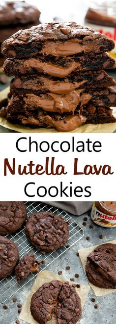 Oversized rich chocolate cookies with a molten Nutella lava center Nutella Lava Cookies. Oversized rich chocolate cookies with a molten Nutella lava center. Chocolate Nutella, Chocolate Cookies, Chocolate Recipes, Chocolate Chips, Nutella Cookie Recipe, Recipes With Nutella, Nutella Chocolate Cake, Chocolate Smoothies, Chocolate Shakeology