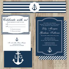 nautical theme, destination wedding invitation, anchor, navy blue, Wedding invitations