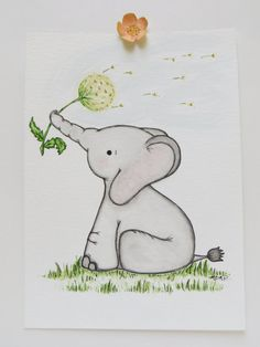 Watercolor painting, nursery painting, original painting, elephant painting, childrens art