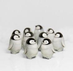 Baby Penguin Figurine Animal Totem OOAK Handmade Polymer Clay Sculpture