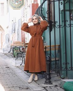 hijab dress The picture may contain: 1 person standing and Hijab Dress Party, Hijab Style Dress, Casual Hijab Outfit, Hijab Chic, Modern Hijab Fashion, Abaya Fashion, Muslim Fashion, Modest Fashion, Fashion Outfits