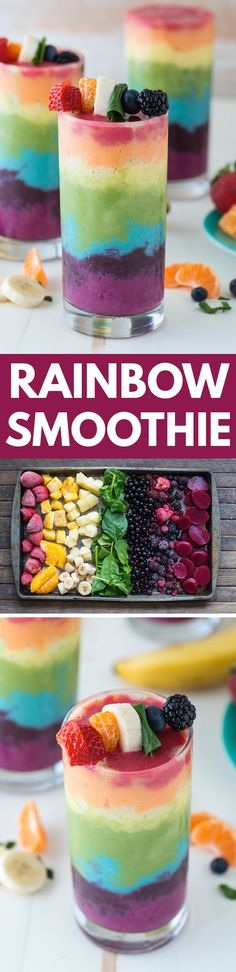 Beautiful 7 layer rainbow smoothie recipe! Full of tons of fruit and topped with a fruit skewer, it's the ultimate rainbow smoothie! Rainbow Smoothie Recipes, Rainbow Desserts, Rainbow Treats, Recipes With Fruit, Healthy Drink Recipes, Fruit Juice Recipes, Vegan Smoothie Recipes, Fruit Food, Fruit Dishes