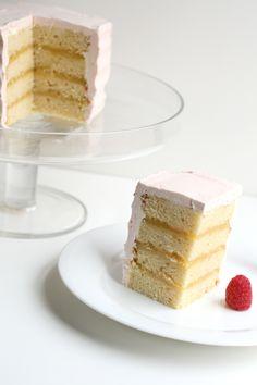 Butter Cake with Lemon Curd and Raspberry Italian Meringue Buttercream via thefauxmartha