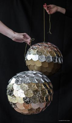 Ombré New Year's Eve DIY Pinata | #DIYDiscoBall #DIYcrafts #NewYearDecorations www.LiaGriffith.com: