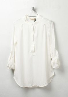 ++ White Plain Round Neck Sevens Sleeve Chiffon Blouse