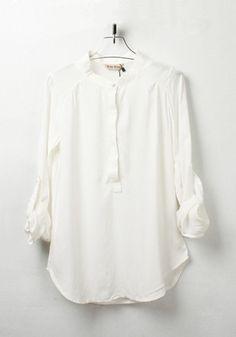 ++ White Plain Round Neck Sevens Sleeve Chiffon Blouse