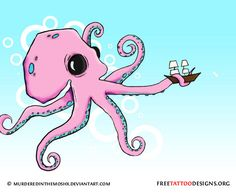 Pink cartoon squid with a ship drawing more squid tattoos …, … – octopus tattoo Octopus Drawing, Octopus Tattoo Design, Octopus Tattoos, Tattoo Designs, Tiny Octopus, Cute Octopus, Octopus Art, Octopus Images, Octopus Pictures
