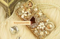 3D Alloy Champagne Rhinestone Bag DIY Mobile IPhone  Case Cover Deco Den Kit