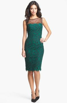 Tadashi Shoji Illusion Yoke Lace Sheath Dress available at #Nordstrom ~ NEW