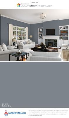 I found this color with ColorSnap® Visualizer for iPhone by Sherwin-Williams: Serious Gray (SW 6256).