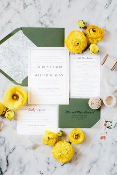 Minimalist Modern Wedding Invitation Sample Green and Navy | oh my! designs by steph