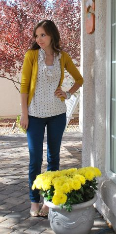 bold cardi with printed top