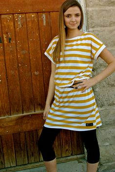 Mustard Yellow and White Striped Knit Tunic from by Gogreenstyle, $52.00