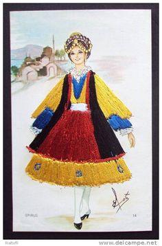 Greece, a girl from Epirus Folk Costume, Costumes, Greeks, Disneyland, Portugal, Aurora Sleeping Beauty, Dolls, Disney Princess, Disney Characters