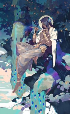 Safebooru is a anime and manga picture search engine, images are being updated hourly. Kunst Inspo, Art Inspo, Art And Illustration, Fantasy Kunst, Fantasy Art, Anime Kunst, Anime Art, Krishna Art, Lord Krishna