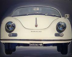 """Porsche 356 panna"" mixed media on canvas 150x120 cm # monicasali.it"