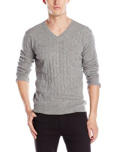 Christopher Fischer Men's Cashmere Cable V Neck, Medium Gray, Small