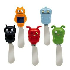 Uglydoll Cheese Spreader Knives Set of 5 by Grasslands Road. $19.50. Uglydoll Ox, Babo, Charlie, Peaco, and Ice Bat, set includes 1 each of 5 styles,. Ceramic and metal. Dishwasher safe. Makes a great housewarming, hostess and birthday gift. Set of 5 kitchen condiment spreader knives. Grasslands Road Uglydoll spreader knives set of 5 will serve up some fun at your next party.