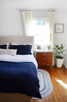 Navy,  white,  wood,  plants (headboard)