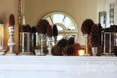 StoneGable: Just add greenery etc for a Christmas mantle - love the use of silver and pinecones
