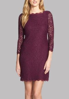 8a42ee7ccc66 Burgundy Floral Lace Zipper Backless 3 4 Sleeve Plus Size Homecoming Party  Mini Dress
