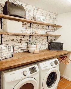 diy faux brick wall in laundry room farmhouse laundry on laundry room wall covering ideas id=68090