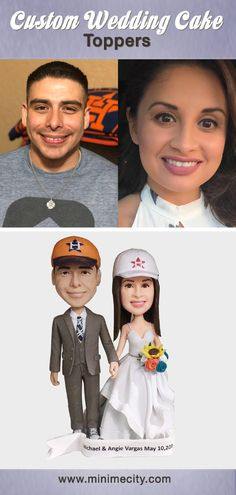 Custom Bobblehead Sculpted From Your Pictures! Customized to give to your Family, Friends and Associates. Funny Wedding Cake Toppers, Personalized Wedding Cake Toppers, Custom Cake Toppers, Wedding Cakes, Groomsmen Outfits, Groom Outfit, Make Your Own Bobblehead, Wedding Tips, Wedding Styles