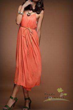 hello color/chiffon dress/two ways to wear/ by pandaandshamrock, $65.00
