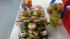 Handcrafted Lego-Mega Bloks Cupcake Stand, Featuring Vanilla Cupcakes in Clear Squat Cups with Colorful Chocolate Lego Cupcake Toppers
