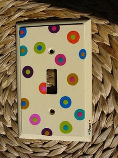 Hand Painted Light Switch Plate  Bright Spots by DJArt on Etsy, $12.00