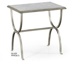 small rushmore Eglomise & iron rectangular side table (Silver)