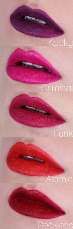 I NEED THEM ALLLLLLLLLLLLLLLLLLLLLL!!!!!!! MUA LUXE Velvet Lip Lacquers